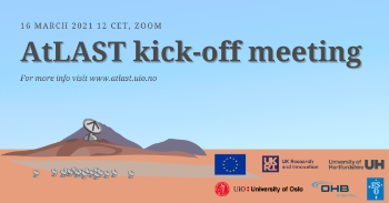 "Drawing of a desert landscape with a radio antenna and some hills and text ""AtLAST kick-off meeting"""