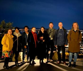 group photo taken in the evening