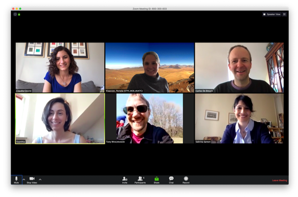 photo mosaic of screenshots of six persons during a zoom meeting